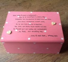 Shabby Personalised Chic Jewellery Box Bridesmaid / Flower Girl Matron Maid Etc